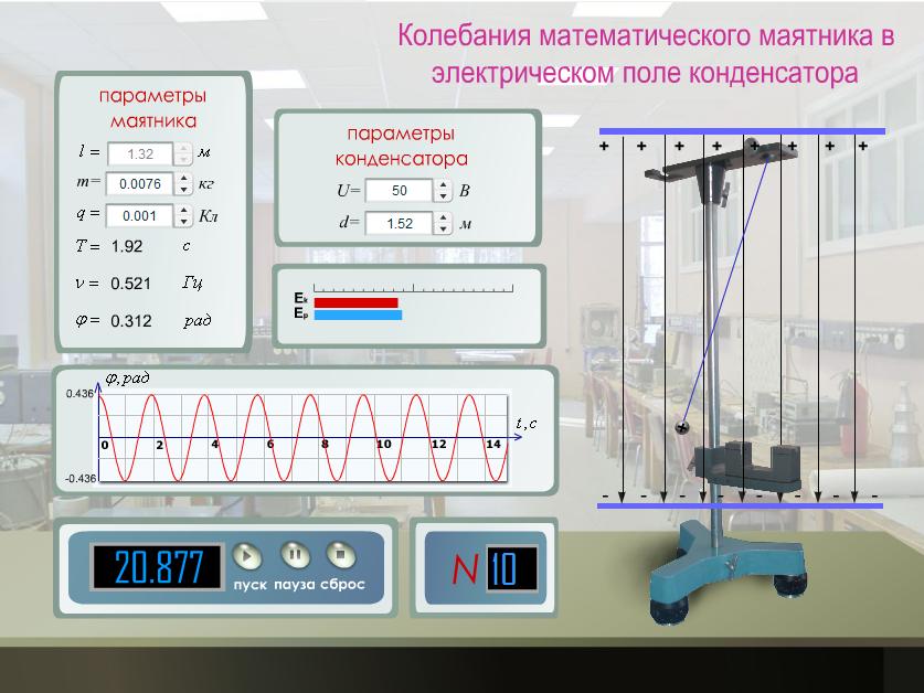 Колебания математического маятника в электрическом поле конденсатора